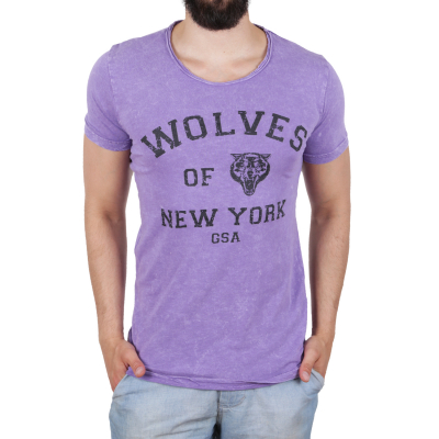 K16049 D & A Lifestyle Wolves Of New York Washed Herren T-shirt | 08681760016412