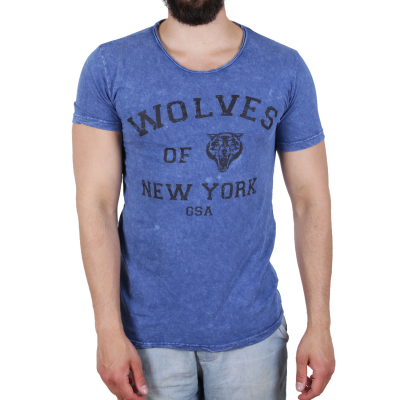K16049 D & A Lifestyle Wolves Of New York Washed Herren T-shirt | 08681760016269