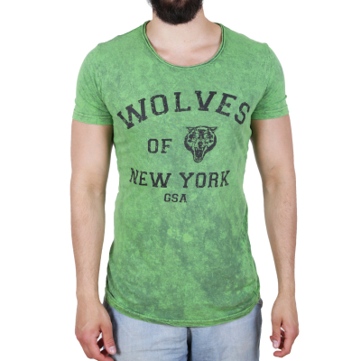 K16049 D & A Lifestyle Wolves Of New York Washed Herren T-shirt | 02018757700096