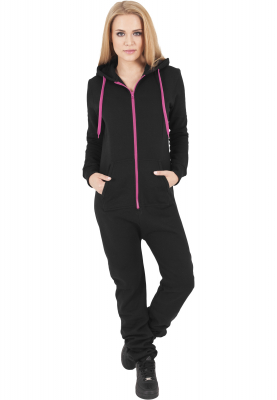 TB1077 Urban Classics Ladies Sweat Jumpsuit Damen Overall  Pink | 04053838100486