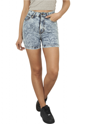 TB958 Urban Classics Ladies High Waist Denim Skinny Damen Short  Bundweite | 04053838082737