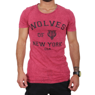 K16049 D & A Lifestyle Wolves Of New York Washed Herren T-shirt | 08681760016214