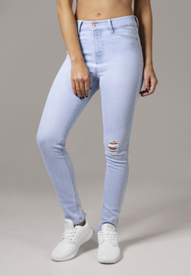 TB1539 Urban Classics Ladies High Waist Skinny Denim Pants Damen Jeans Hel Bundweite | 04053838152331