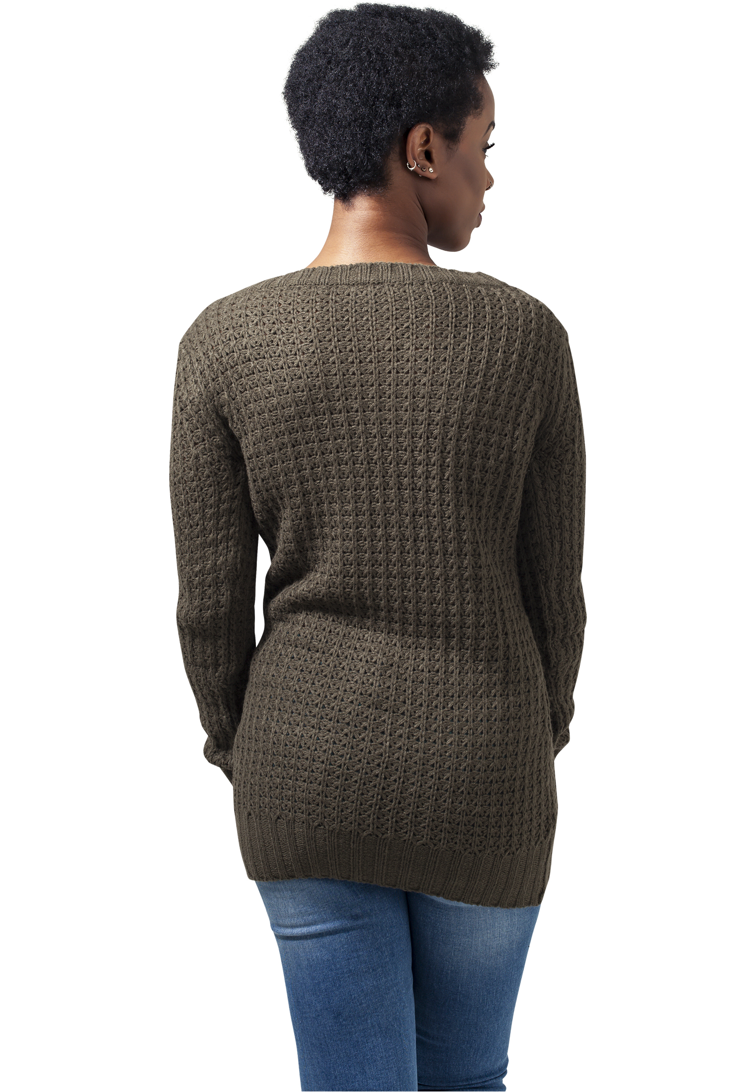 Urban Classics Ladies Long Wideneck Sweater Damen Pullover Olive ... 68e64018be