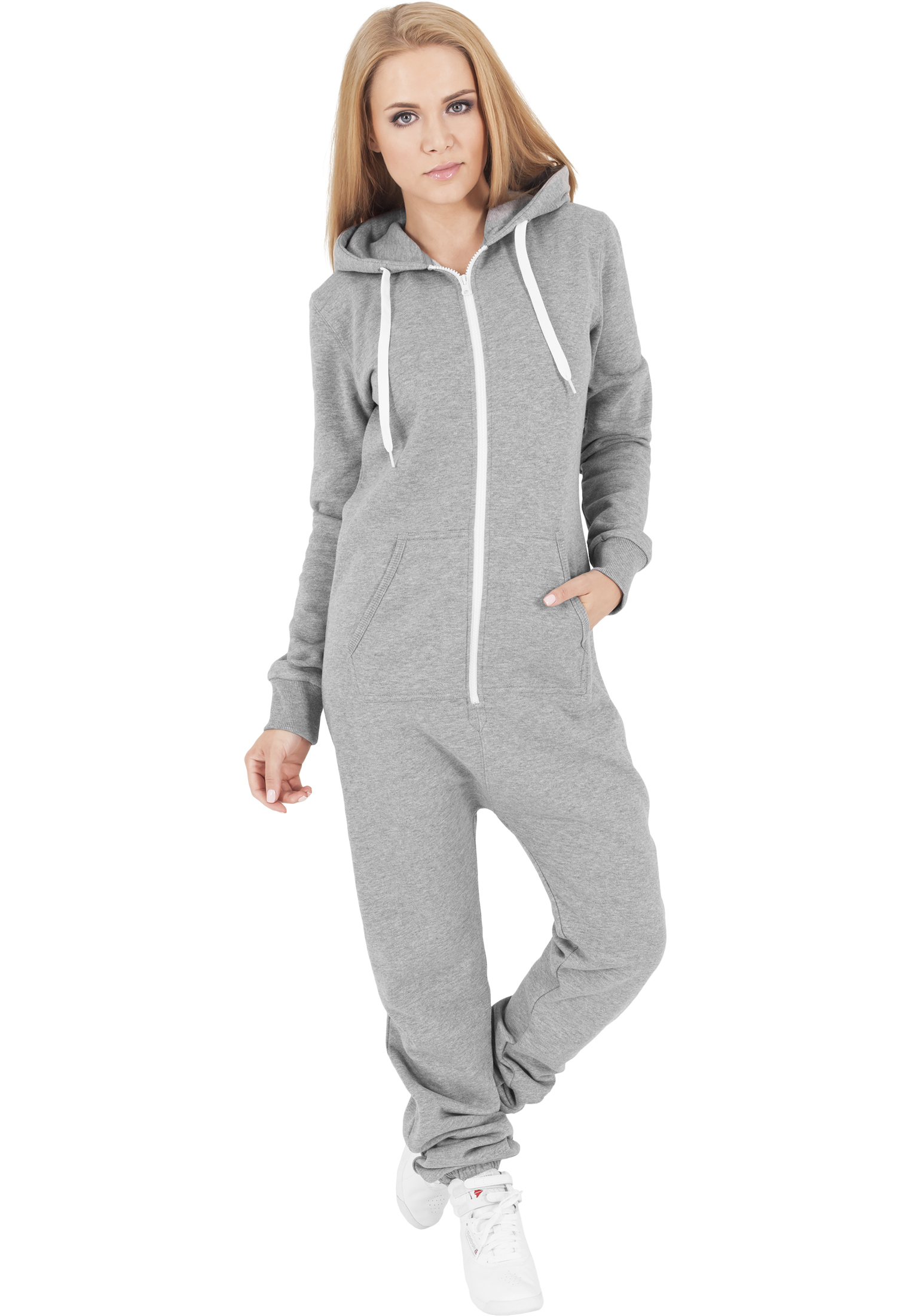 80b899ade2f015 Urban Classics Ladies Sweat Jumpsuit Damen Overall Grau Weiß 517829 ...