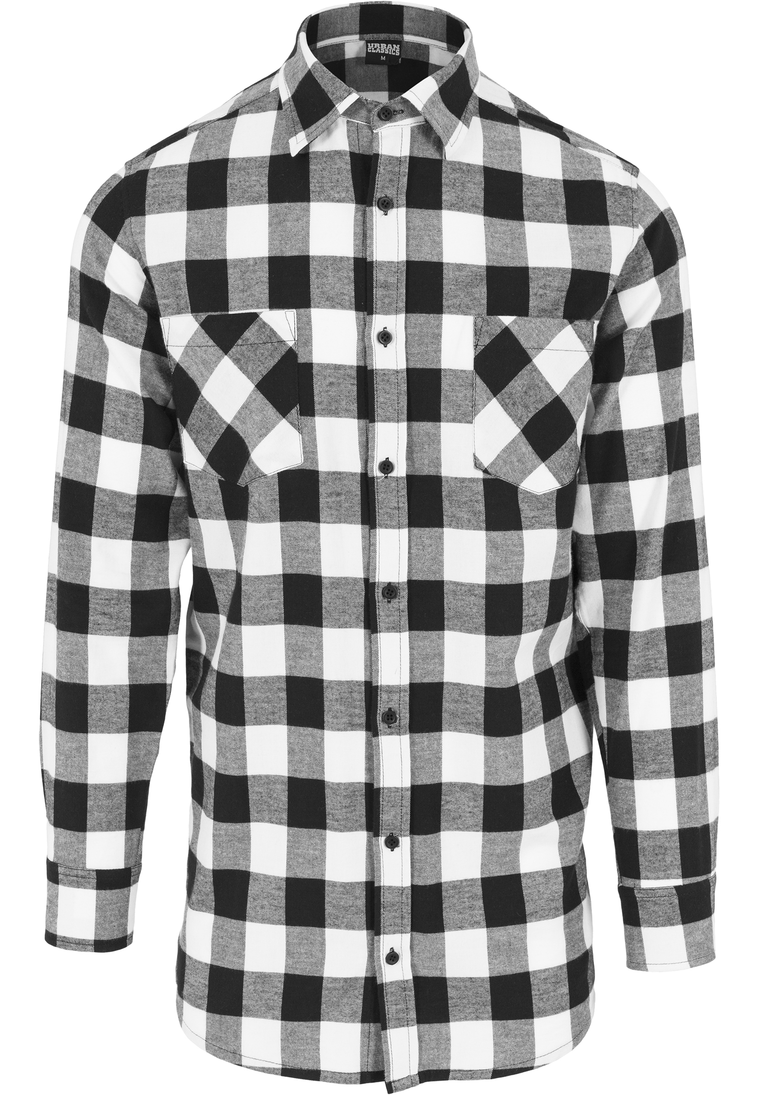 newest collection 8c36b 1a646 Urban Classics Long Checked Flanell Herren Hemd Schwarz Weiß ...