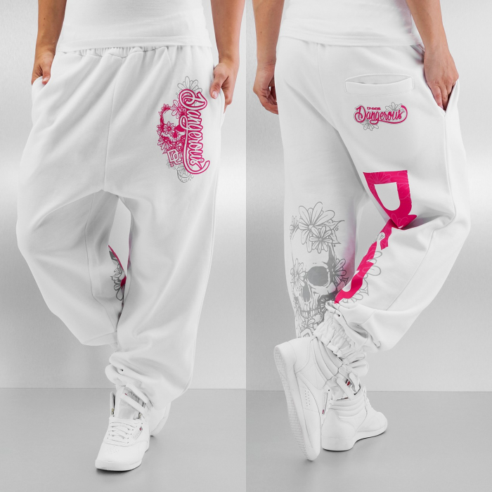 Dangerous DNGRS Pink Women Sweat Pant white