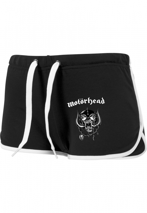 Merchcode Ladies Motörhead Logo French Terry Damen Hotpant Schwarz Weiß