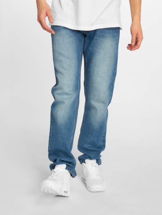 Rocawear Moletro Leather Patch Men Straight Fit Jeans blue