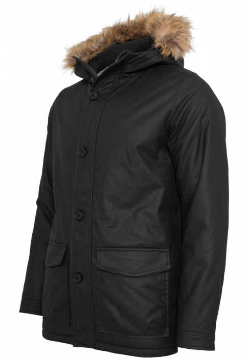 Urban Classics Coated Cotton Parka Herren Winterjacke Schwarz