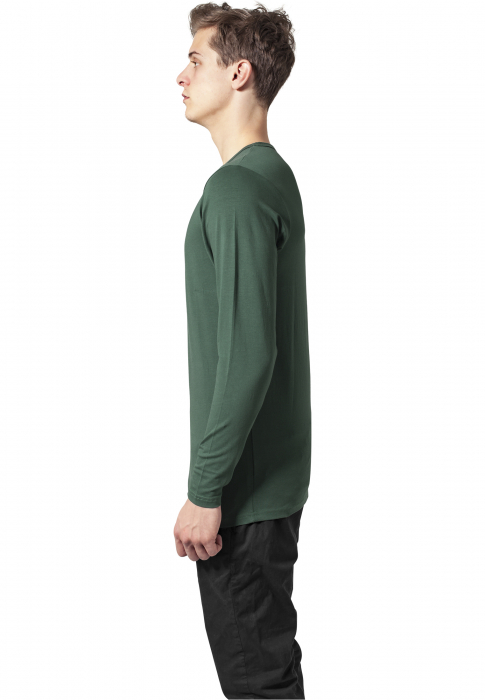 Urban Classics Fitted Stretch L/S Tee Herren T-Shirt Dunkelgrün