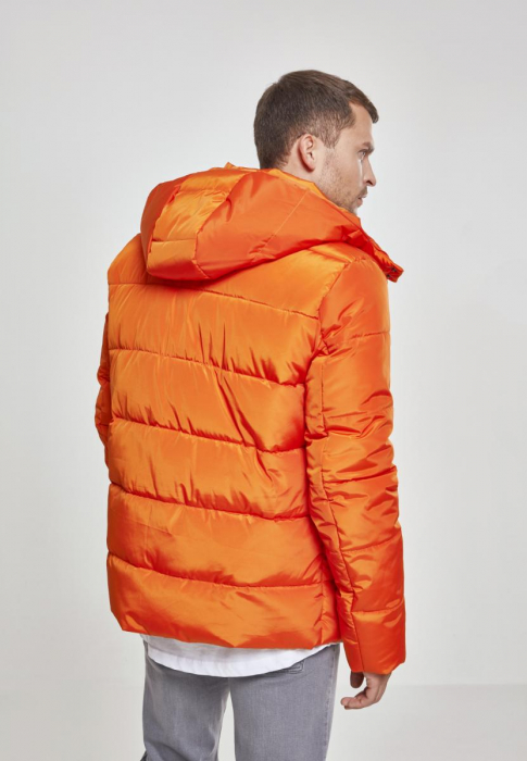 Urban Classics Hooded Puffer Herren Winterjacke Orange