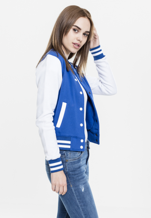 Urban Classics Ladies 2-tone College Sweatjacket Women College Jacket royal blue white