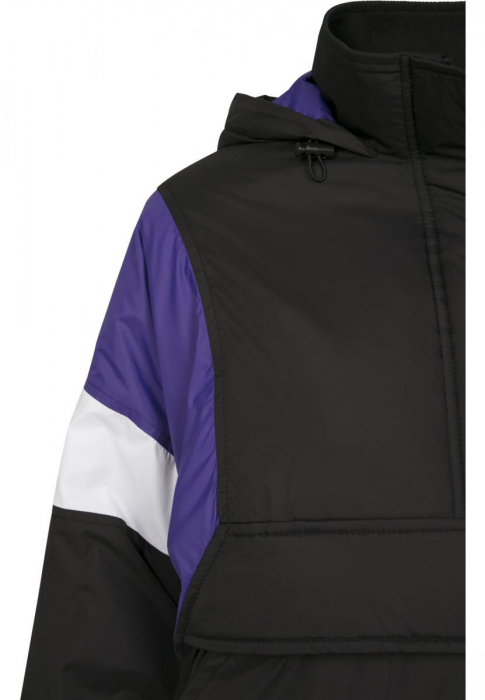 Urban Classics Ladies 3-Tone Padded Pull Over Women Transition Jacket black purple