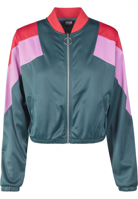 Urban Classics Ladies 3-Tone Track Jacket Women Transition Jacket Charcoal red