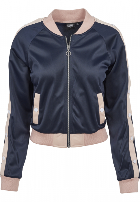 Urban Classics Ladies Button Up Track Jacket Damen Übergangsjacke Dunkelblau Rosa
