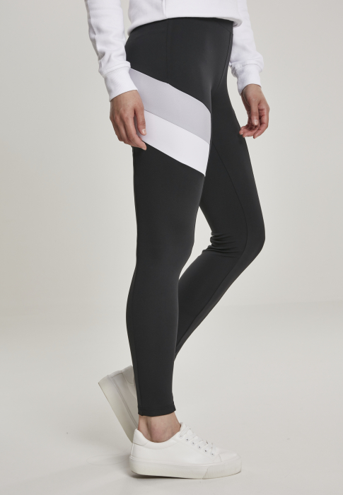 Urban Classics Ladies Color Block Damen Leggings Schwarz Grau