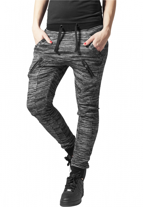 Urban Classics Ladies Fitted Melange Zip Damen Jogginghose Schwarz Grau