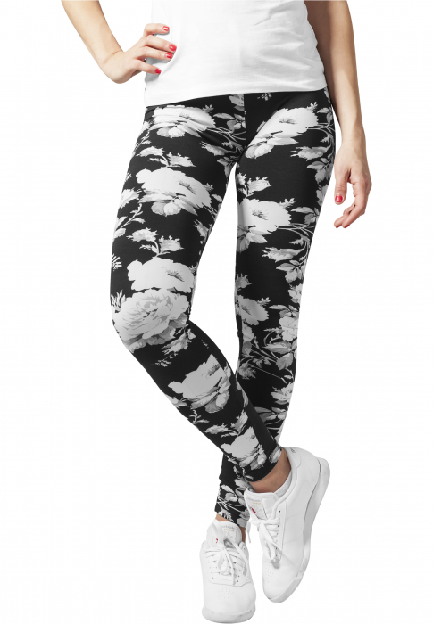 Urban Classics Ladies Flower Damen Leggings Weiß
