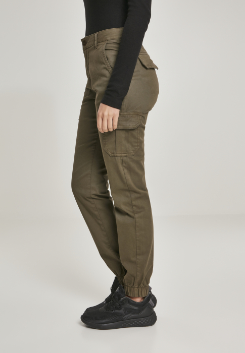 Urban Classics Ladies High Waist Cargo Damen Stoffhose Olive