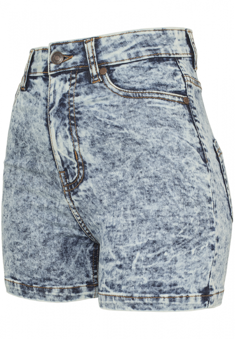 Urban Classics Ladies High Waist Denim Skinny Damen Short Blau