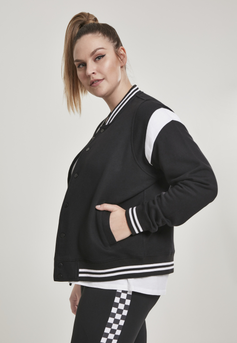 Urban Classics Ladies Inset College Sweat Women Transition Jacket black white