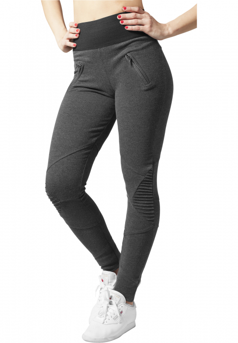 Urban Classics Ladies Interlock High Waist Damen Leggings Dunkelgrau Schwarz