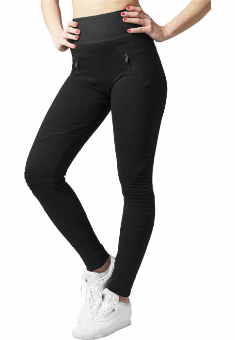 Urban Classics Ladies Interlock High Waist Damen Leggings Schwarz Schwarz