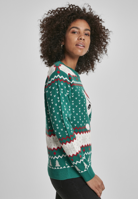 Urban Classics Ladies Kitty Christmas Sweater Damen Pullover Grün