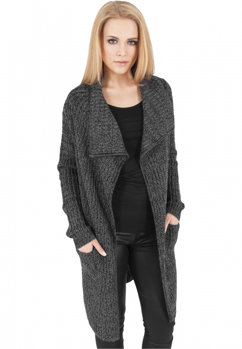 Urban Classics Ladies Knitted Long Cape Women Transition Jacket Charcoal
