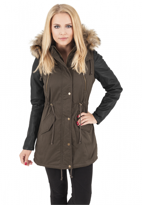 Urban Classics Ladies Leather Imitation Sleeve Parka Damen Winterjacke Olive Schwarz