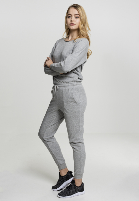 Urban Classics Ladies Long Sleeve Terry Jumpsuit Damen Overall Grau