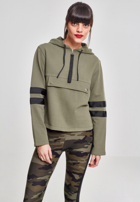 Urban Classics Ladies Peached Terry Troyer Damen Kapuzenpullover Olive Schwarz