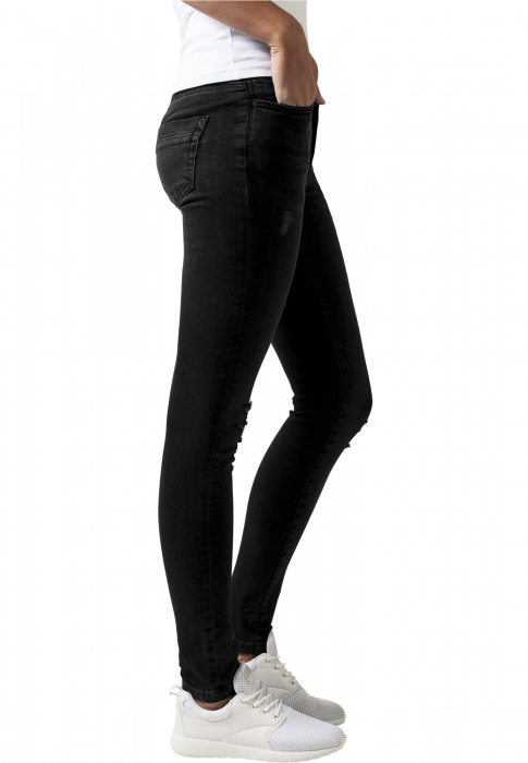 Urban Classics Ladies Ripped Denim Pants Damen Jeans Schwarz