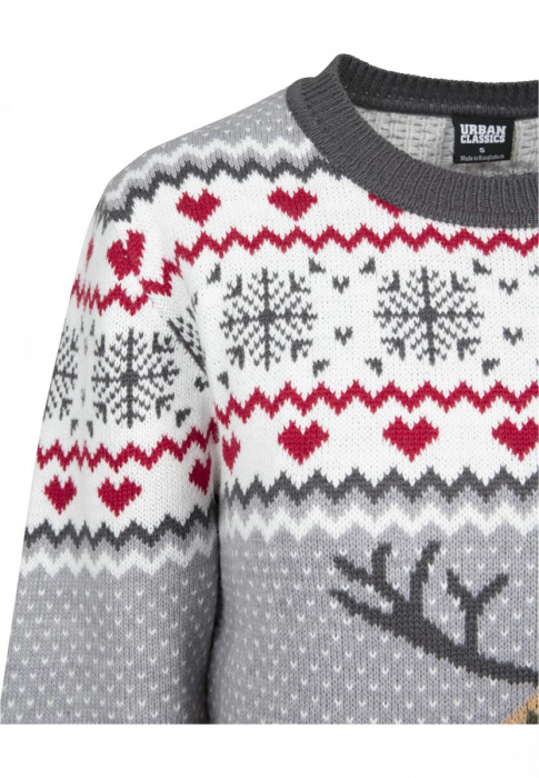 Urban Classics Ladies Sausage Dog Christmas Sweater Damen Pullover Grau Weiß