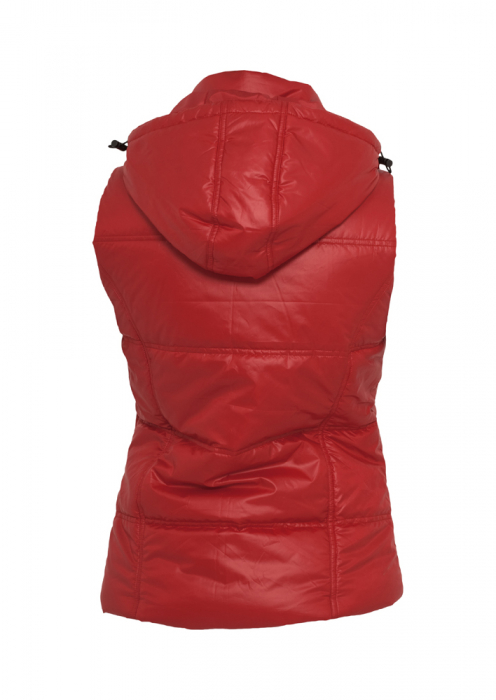 Urban Classics Ladies Shiny Hooded Vest Damen Weste Rot