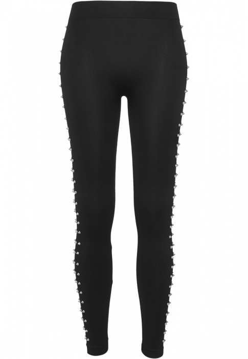 Urban Classics Ladies Side Rivets Damen Leggings Schwarz Silber