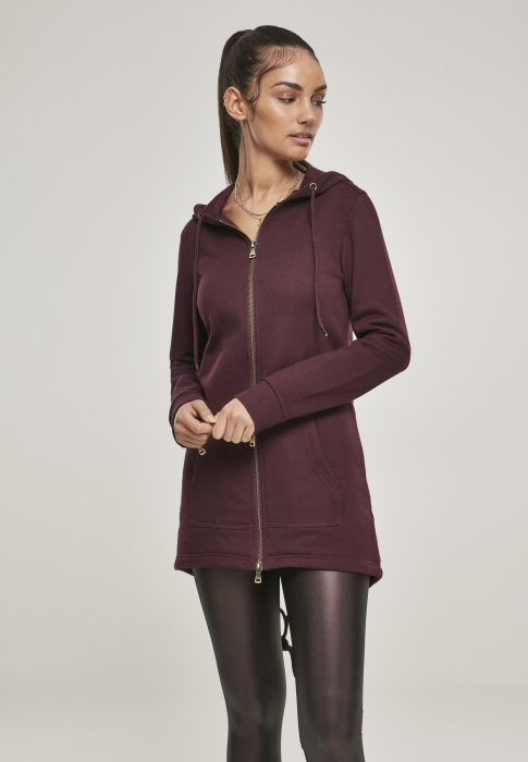 Urban Classics Ladies Sweat Parka Damen Winterjacke Dunkelrot