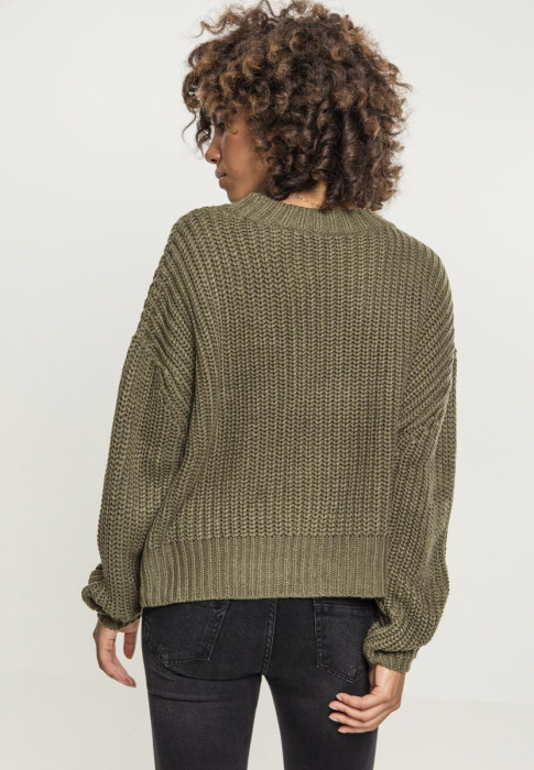 Urban Classics Ladies Wide Oversize Sweater Damen Pullover Olive
