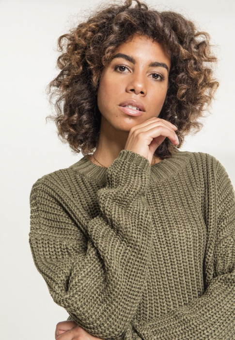 Urban Classics Ladies Wide Oversize Sweater Women Sweatshirt olive
