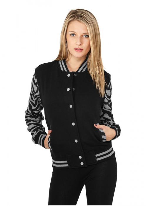 Urban Classics Ladies Zebra 2-tone College Sweatjacket Damen College Jacke Grau Schwarz