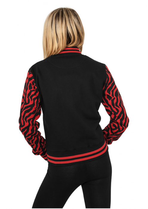 Urban Classics Ladies Zebra 2-tone College Sweatjacket Damen College Jacke Rot Schwarz
