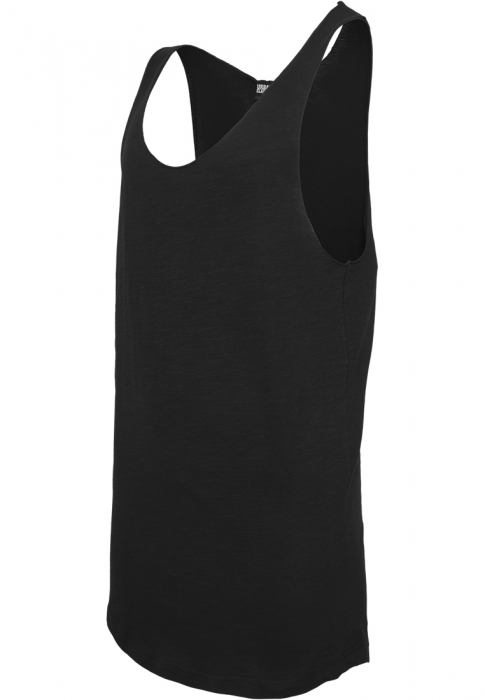 Urban Classics Long Shaped Open Edge Loose Herren Tank Top Schwarz