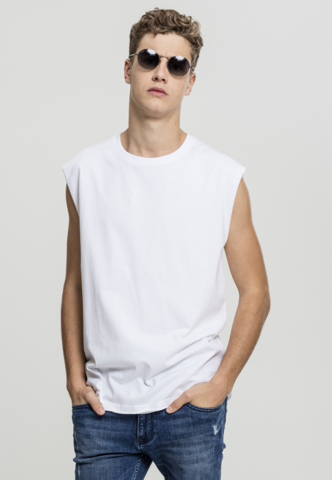 Urban Classics Open Edge Sleeveless Tee Men T-Shirt white