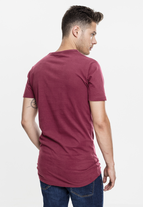 Urban Classics Peached Shaped Long Tee Men T-Shirt dark red