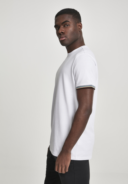 Urban Classics Rib Ringer Tee Men T-Shirt white multicolored