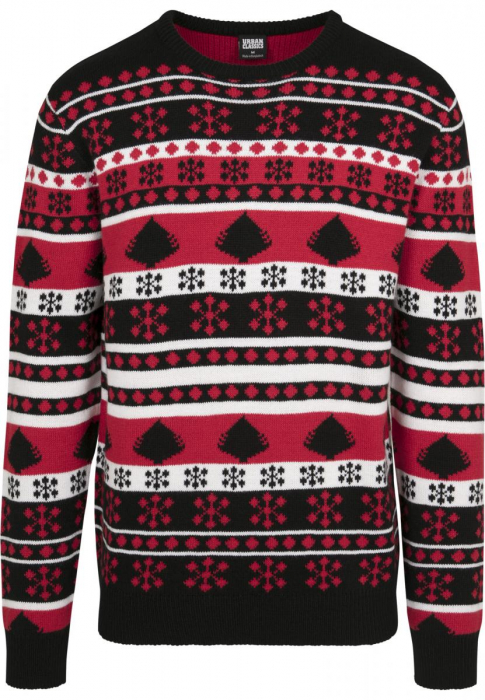 Urban Classics Snowflake Christmas Tree Sweater Men Sweatshirt black red