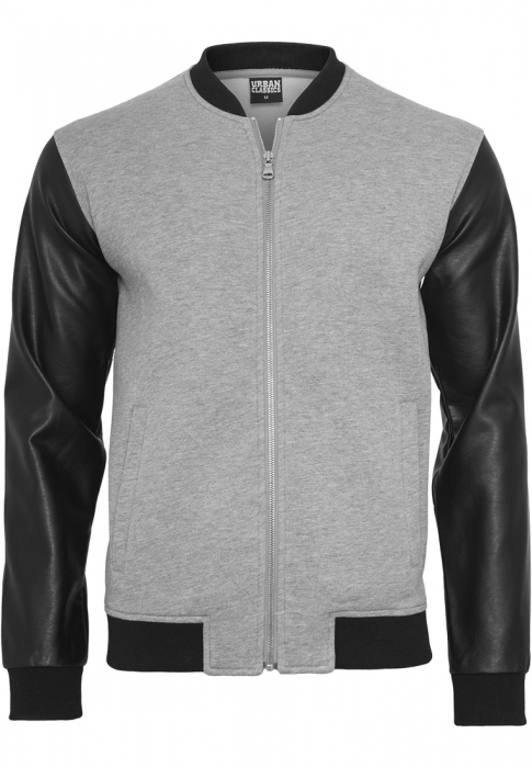 Urban Classics Zipped Leather Imitation Sleeve Men Summer Jacket grey black