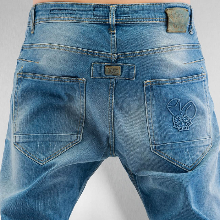 Who Shot Ya Axel Herren Anti Fit Jeans Blau